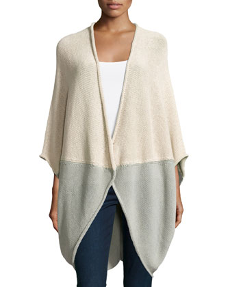 Colorblock Oversized Cardigan, Parchment Multi
