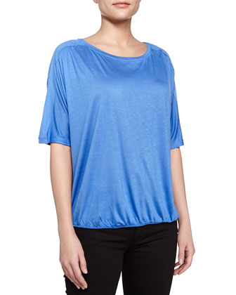 Scoop-Neck Blouson Top, Sky