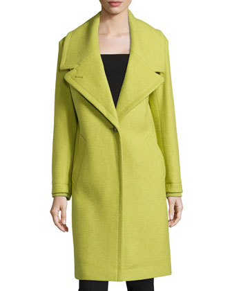 Cocoon-Sleeve Long Coat, Apple Green