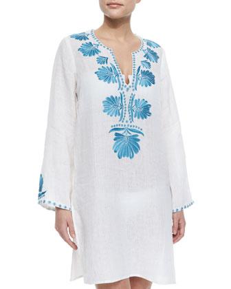 Domingo Short Embroidered Linen Coverup, White/Cornflower