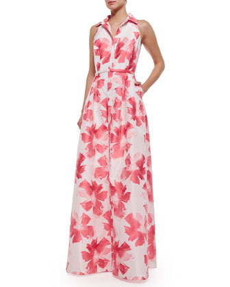 Sleeveless Floral Belted Gown, Coral