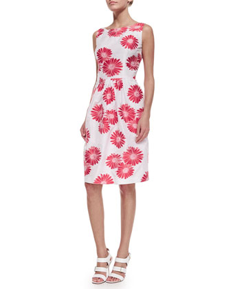 Sleeveless Floral Jacquard Dress