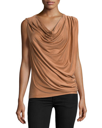 Draped One-Sleeve Top, Rust