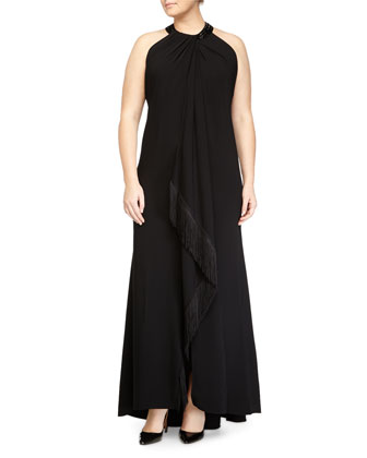 Sleeveless Beaded-Neck Fringe-Trim Toga Gown, Black, Women's