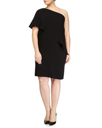 One-Shoulder Capelet Cocktail Dress, Black, Women's