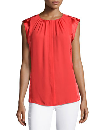 Sleeveless Ruched-Detail Top, Vermillion