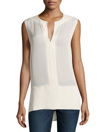 Sleeveless Top with Wide Hem, Bone