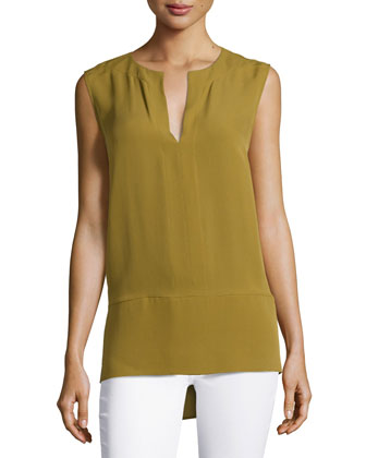 Sleeveless Top with Wide Hem, Amber Green