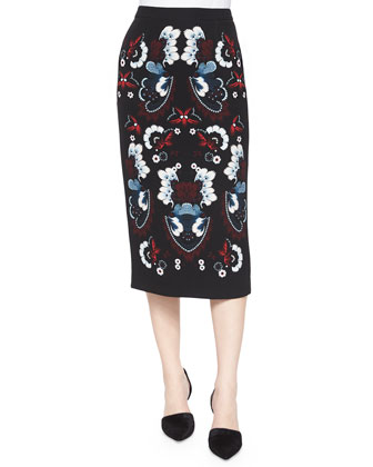 Haley Garland-Print Midi Pencil Skirt