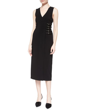 Cullen Faux-Wrap Buckle-Waist Dress