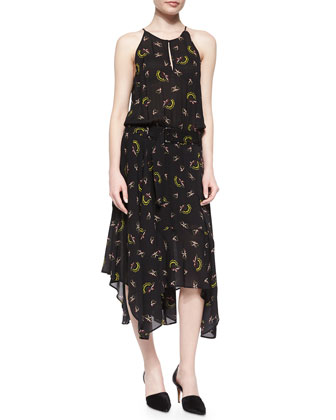 Halter Printed Handkerchief-Hem Dress