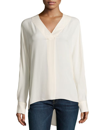 Long-Sleeve Silk Top, Bone
