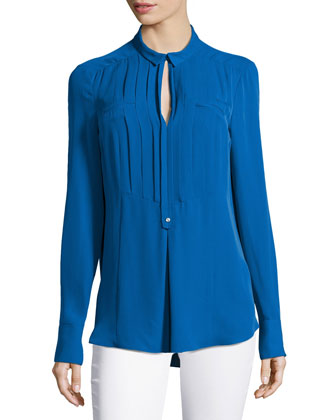 Long-Sleeve Pleated-Front Tuxedo Shirt, Sapphire