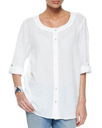Organic Cotton Voile Box Shirt & Stretch Boyfriend Jeans, Petite