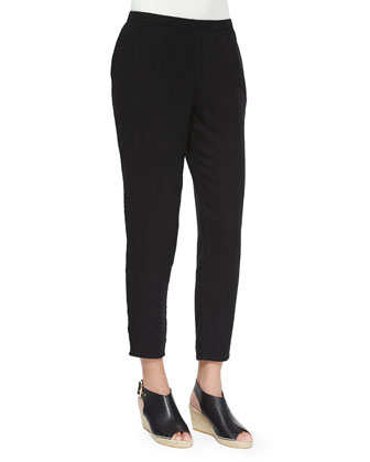 Organic Cotton Tapered Ankle Pants, Petite