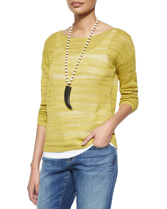 Long-Sleeve Organic Linen Slub Top, Petite