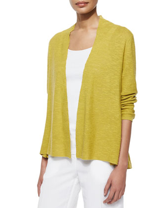 3/4-Sleeve Organic Linen Cotton Cardigan, Slim Tank, Scarf W/ Embroidery & ...