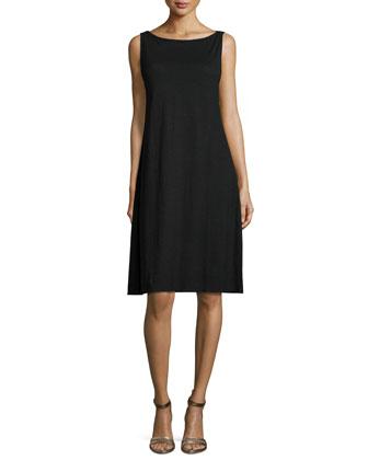 Sleeveless Cotton Twist Tank Dress, Petite