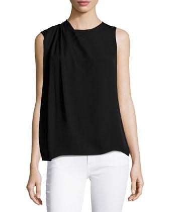 Pleated-Shoulder Top, Black
