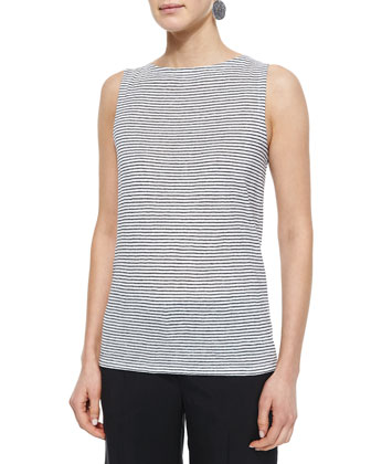 Sleeveless Striped Jersey Shell