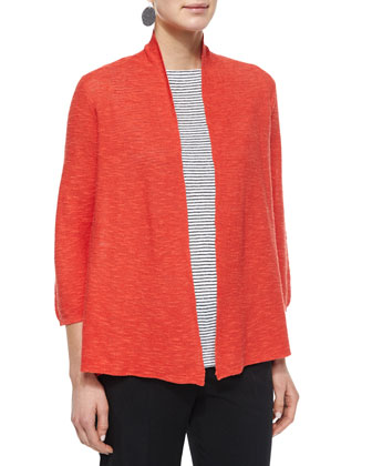 3/4-Sleeve Organic Linen Cotton Cardigan, Petite