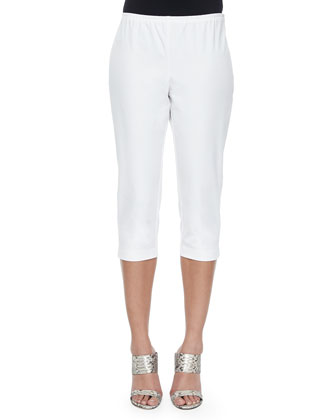 Organic Cotton Slim Capri Pants, White
