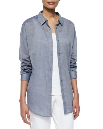 Long-Sleeve Chambray Open Back Shirt, Slim Tank, Scarf W/ Embroidery & Slim ...