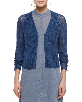 Linen Ribbed Crop Cardigan, Women's