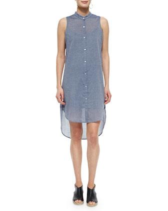 Sleeveless Organic Cotton Chambray Shirtdress
