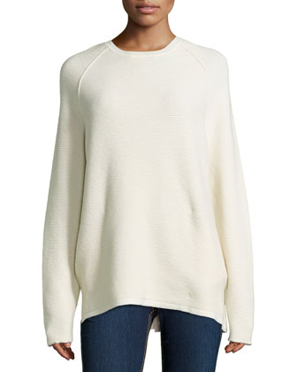 Long-Sleeve Jacquard Sweater, Bone