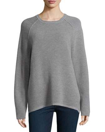 Long-Sleeve Jacquard Sweater, Gray