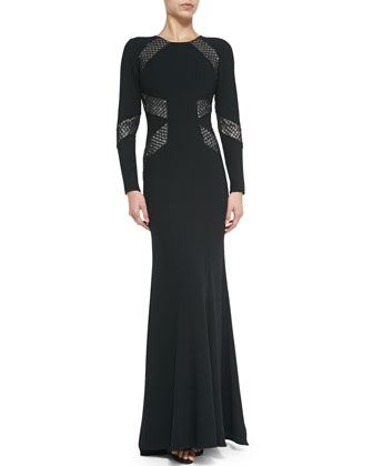 Long-Sleeve Open-Back Beaded-Panel Gown