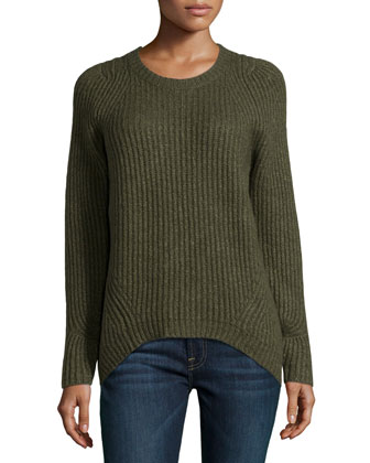 Long-Sleeve Ribbed Sweater, Grape Leaf