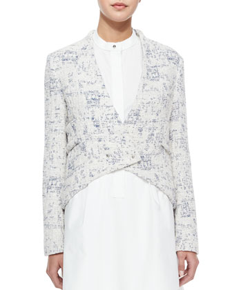Cropped Angled-Front Jacket, Blue