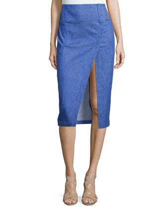 Striped Silk V-Neck Shell & Saddle-Stud Slit Pencil Skirt