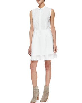 Sleeveless Band-Detail Shirtdress