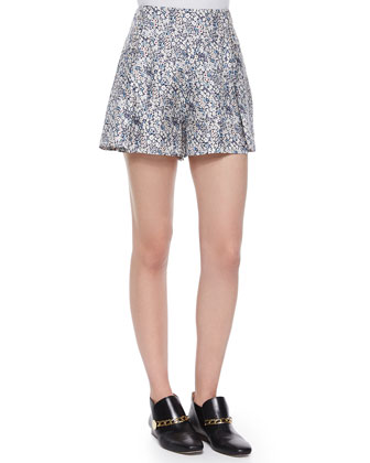 Long-Sleeve Striped Henley Blouse & Floral-Print Shorts W/ Saddle Studs