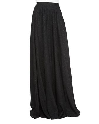 Half-Sleeve Chevron-Stripe Beaded Top & Glitter Crepe Full Skirt