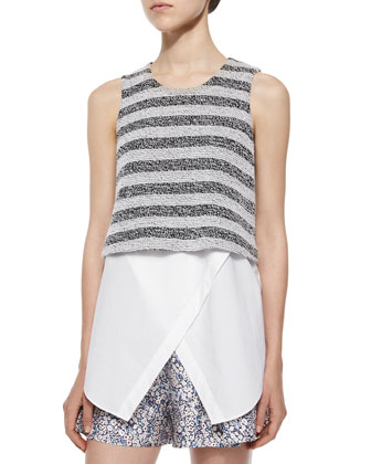 Sleeveless Striped Layered Tank & Floral-Print Shorts W/ Saddle Studs