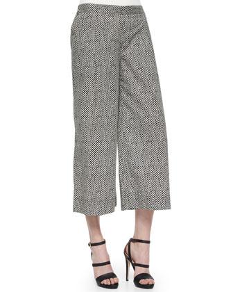 Bandhini-Print Cropped Pants, Petite