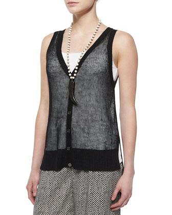 Organic Linen Mesh Button-Front Vest, Black, Petite