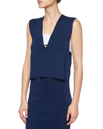 Sleeveless Banded Cutout Top & Knee-Length Pencil Skirt