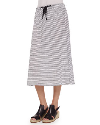 Slubby Short-Sleeve Scoop-Neck Tee & Striped Linen Jersey Flare Knee Skirt
