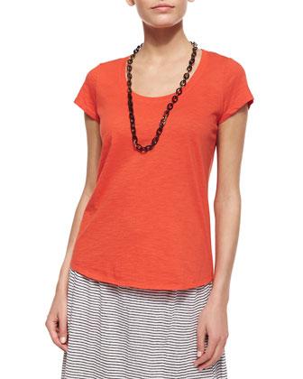 Slubby Short-Sleeve Scoop-Neck Tee & Striped Linen Jersey Flare Knee Skirt, ...