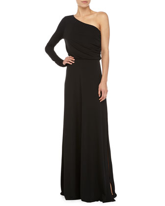 Long-Sleeve One Shoulder Gown, Black