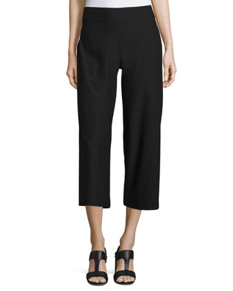 Wide-Leg Washable-Crepe Cropped Pants, Black
