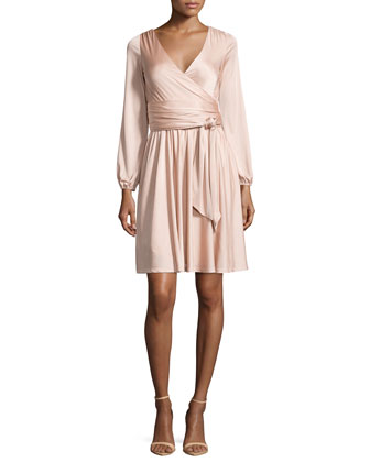 Long-Sleeve Wrap Dress, Bare