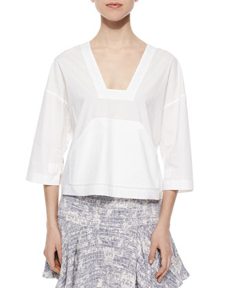 3/4-Sleeve Poplin Top