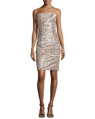 Pleated Strapless Cocktail Dress, Snow Leopard