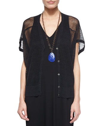 Short-Sleeve V-Neck Wedge Cardigan & V-Neck Racerback Jersey Midi Dress